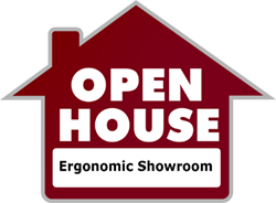 open house sign for ergonomic showroom